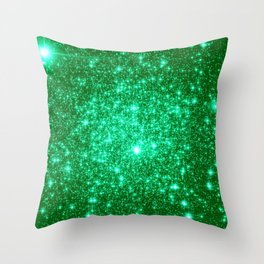 Emerald Green Glitter Stars Throw Pillow