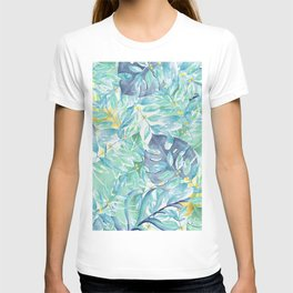 Modern teal green yellow watercolor tropical leaves T-shirt