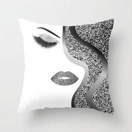 Glitter woman Throw Pillow