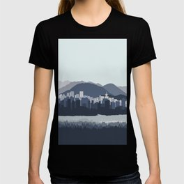 Vancouver Skyline in Blues T-shirt