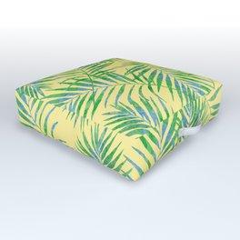 Fern Leaves Yellow Outdoor Floor Cushion