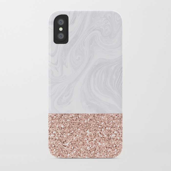 White Marble Dipped in Rose Gold Glitter iPhone Case