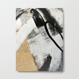 Armor [9]: a minimal abstract piece in black white and gold by Alyssa Hamilton Art Metal Print
