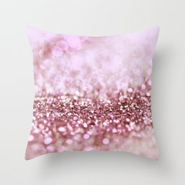 Pink Sparkle shiny glitter effect print - Sparkle Valentine Backdrop Throw Pillow