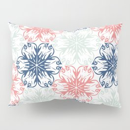Floral in Aqua, Coral Red and Navy Blue Pillow Sham
