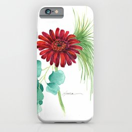 Red Christmas Gerber Daisy iPhone Case