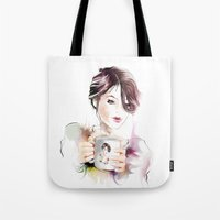 cup Tote Bags featuring cup by tatiana-teni