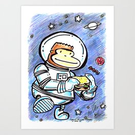Space Ape Eats a BLT Sandwich Art Print