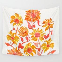 Sunflower Watercolor – Fiery Palette Wall Tapestry