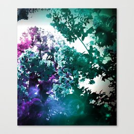 Watercolor Floral Trees Teal Purple Pink Canvas Print