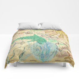 Vintage Hawaiian Map Comforters