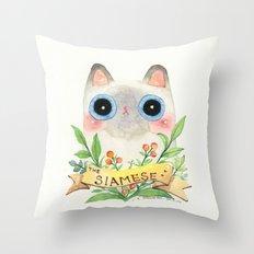 The Siamese Cat Throw Pillow