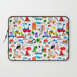 Dinosaur City Watercolor Transportation Pattern Laptop Sleeve