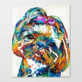 Colorful Shih Tzu Dog Art By Sharon Cummings Canvas Print