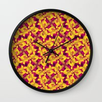 asia Wall Clocks featuring Asia by Emma Stein