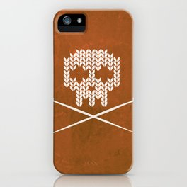 Knitted Skull - White on Orange iPhone Case