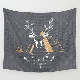 Christmas Geo Deer Gray Wall Tapestry