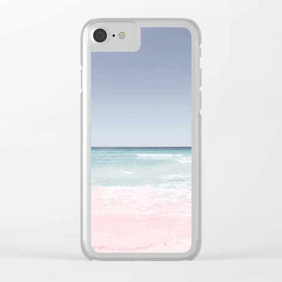 Pastel ocean waves Clear iPhone Case