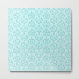 Limpet Shell Blue Damask Pattern Metal Print