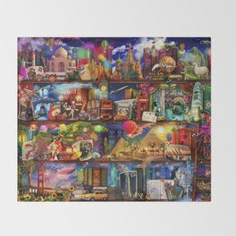 World Travel Book Shelf Throw Blanket