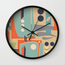 Mid Century Orange Wall Clock