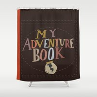 carl sagan Shower Curtains featuring my adventure book.. up, carl and ellie by studiomarshallarts