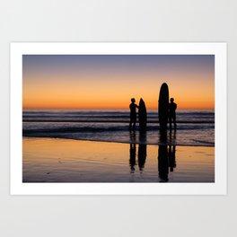 Sunset Surfers Art Print