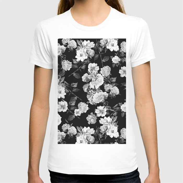 Black and White Botanic Pattern T-shirt
