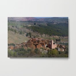 Village Among Hills Metal Print