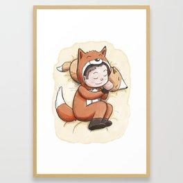 Boy Sleeping Wearing Fox Pajamas Framed Art Print