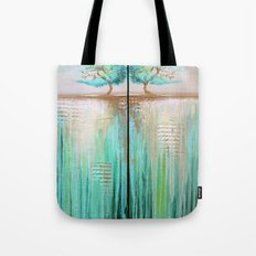 Trees in Green Landscape Tote Bag