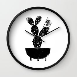Cactus linocut houseplant planter hipster black and white office dorm college art print Wall Clock