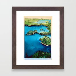 Boundary Waters Canoe Area - Aerial Watercolor Framed Art Print
