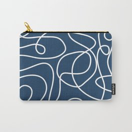 Doodle Line Art | White Lines on Petrol Blue Carry-All Pouch