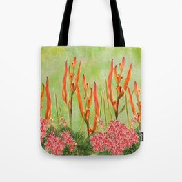 Tropical Floral Malaysian Border Print Tote Bag