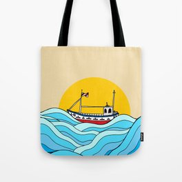 The little fishing boat Tote Bag