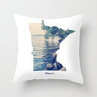 minnesota Throw Pillows featuring Minnesota by Cassie B Clark