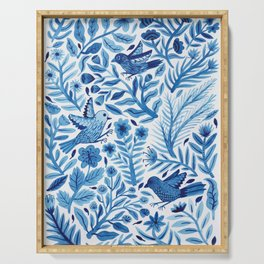 Birds in Blue Serving Tray