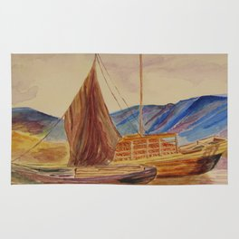 sailing boats with fruit Rug