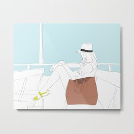 Fashion Girl on the Ferry Metal Print