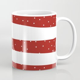 Christmas Simple seamless pattern Snow confetti on White and Red Stripes Background Coffee Mug