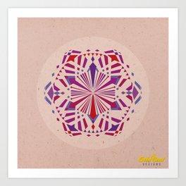 Mandala no.4 Red & Purple Art Print
