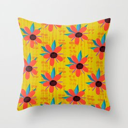 Mid Century Hawaiian Red Throw Pillow