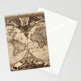 World Map 1665 Stationery Cards