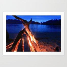 Beach Fire Burning, Kepler Track Art Print
