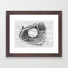 Softball (black and white) Framed Art Print