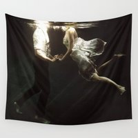 woman Wall Tapestries featuring abyss of the disheartened VII by Heather Landis