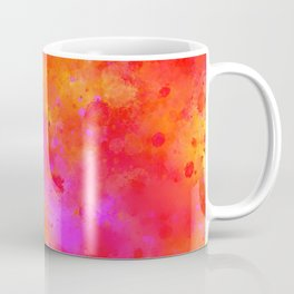 Watercolor Painting Bright Red & Summer Pink Abstract Paint Splashes Coffee Mug