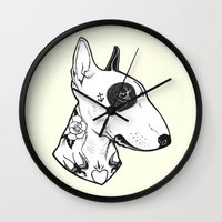 bull terrier Wall Clocks featuring Bull Terrier dog Tattooed by PaperTigress