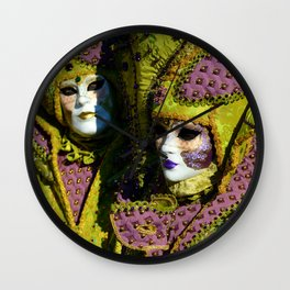 Glamorous Couple With Carnival Costumes Wall Clock